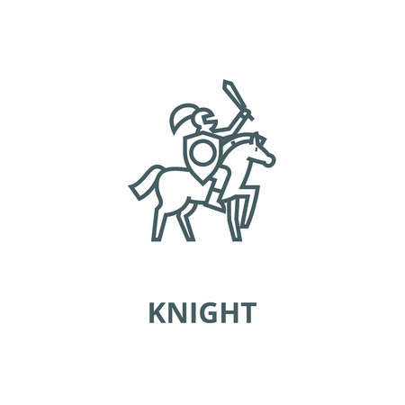 Knight vector line icon, outline concept, linear sign