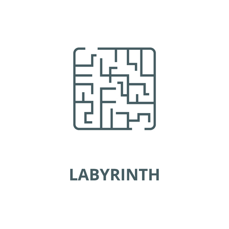 Labyrinth vector line icon, outline concept, linear sign Illustration