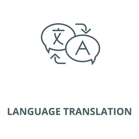 Language translation vector line icon, outline concept, linear sign