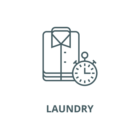 Laundry,cleaning cloths,express cleaning vector line icon, outline concept, linear sign Ilustração