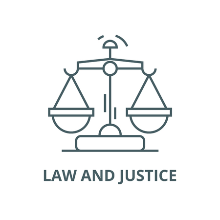 Law and justice vector line icon, outline concept, linear sign