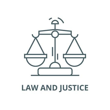 Legge e giustizia icona linea vettoriale, concetto di contorno, segno lineare Vettoriali