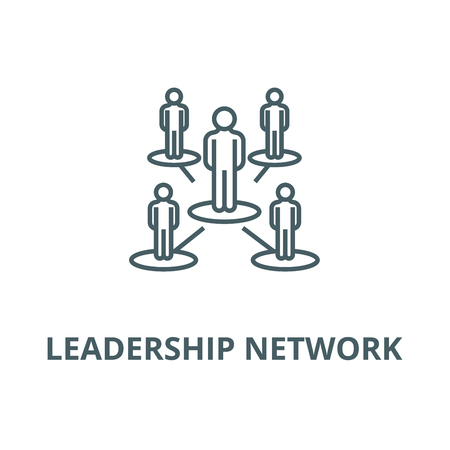 Leadership network,multilevel  vector line icon, outline concept, linear sign Illusztráció