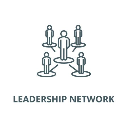 Réseau de leadership, icône de ligne vectorielle à plusieurs niveaux, concept de contour, signe linéaire Vecteurs