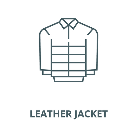 Leather jacket vector line icon, outline concept, linear sign Illustration