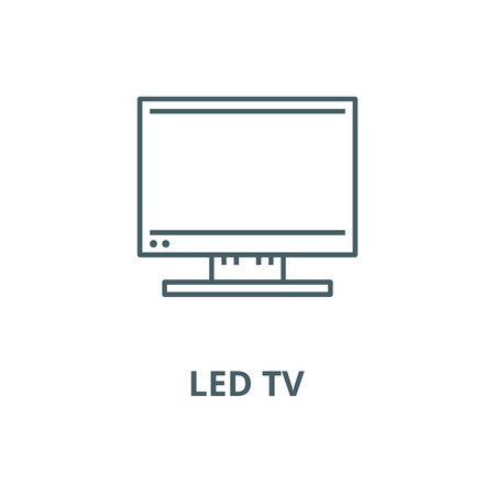 Led tv vector line icon, outline concept, linear sign Banco de Imagens - 122415906