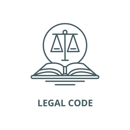 Legal code vector line icon, outline concept, linear sign