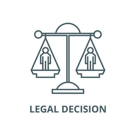 Legal decision vector line icon, outline concept, linear sign