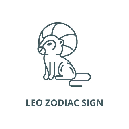 Leo zodiac sign vector line icon, outline concept, linear sign