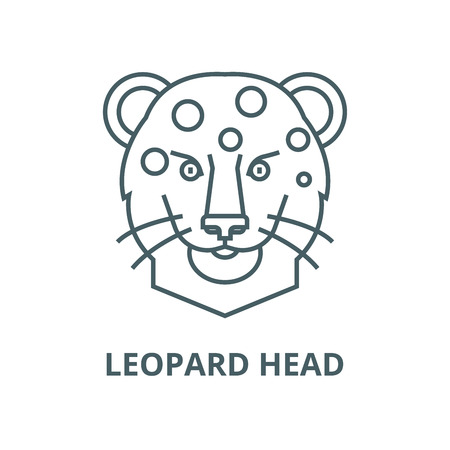 Leopard head vector line icon, outline concept, linear sign