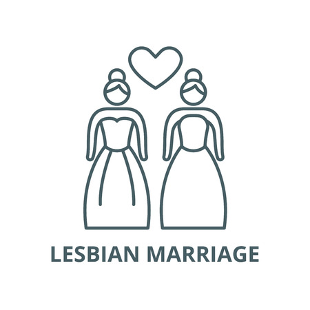 Lesbian marriage vector line icon, outline concept, linear sign Illustration