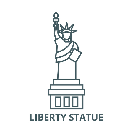 Liberty statue  vector line icon, outline concept, linear sign  イラスト・ベクター素材
