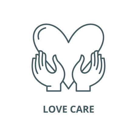 Love care vector line icon, outline concept, linear sign