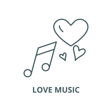 Love music vector line icon, outline concept, linear sign Çizim