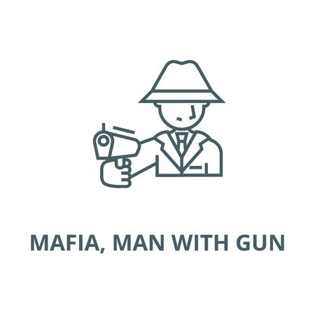 Mafia, man with gun vector line icon, outline concept, linear sign