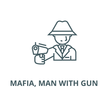 Mafia, man with gun vector line icon, outline concept, linear sign