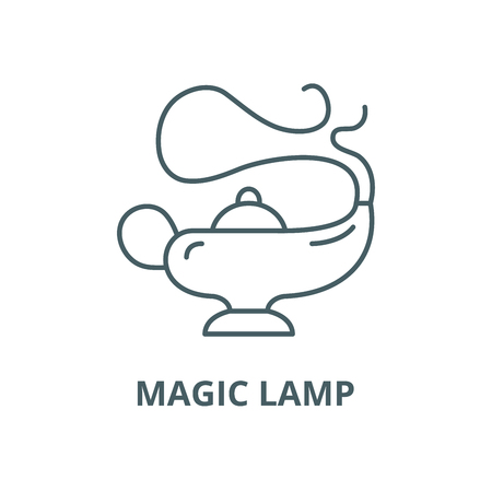 Magic lamp vector line icon, outline concept, linear sign