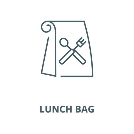 Icona della linea del vettore al sacco del pranzo, concetto di contorno, segno lineare