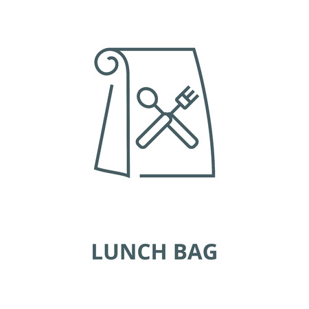 Lunch bag vector line icon, outline concept, linear sign Vettoriali