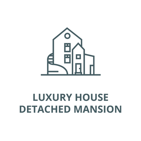 Luxury house,detached mansion vector line icon, outline concept, linear sign Standard-Bild - 122415944