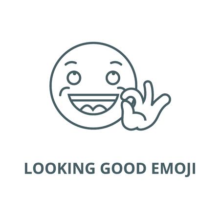 Looking good emoji vector line icon, outline concept, linear sign Ilustração