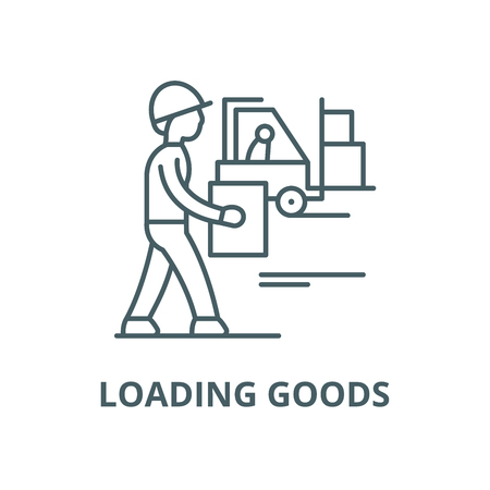 Loading goods vector line icon, outline concept, linear sign Illustration