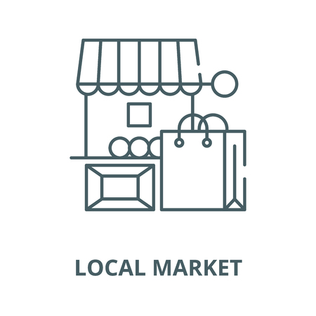 Local market vector line icon, outline concept, linear sign