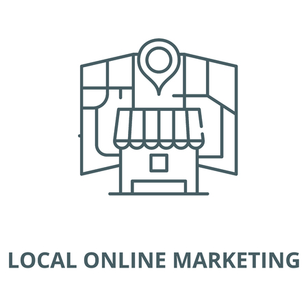 Local online marketing vector line icon, outline concept, linear sign