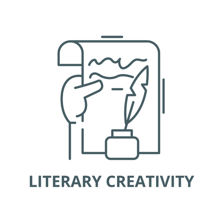 Literary creativity vector line icon, outline concept, linear sign