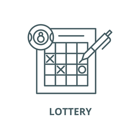 Lottery vector line icon, outline concept, linear sign