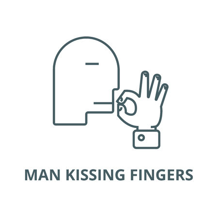 Man kissing fingers  vector line icon, outline concept, linear sign