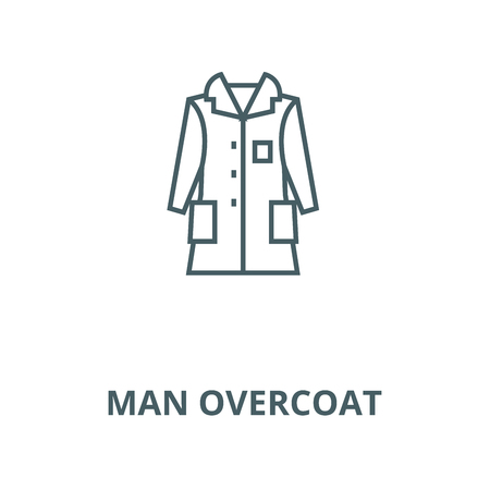 Man overcoat vector line icon, outline concept, linear sign