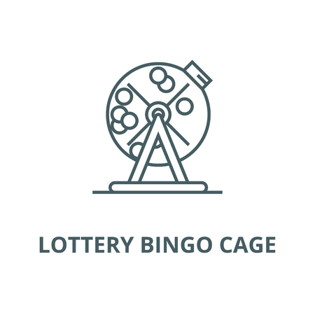 Lottery bingo cage vector line icon, outline concept, linear sign Stock Illustratie