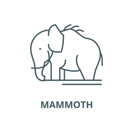 Mammoth vector line icon, outline concept, linear sign