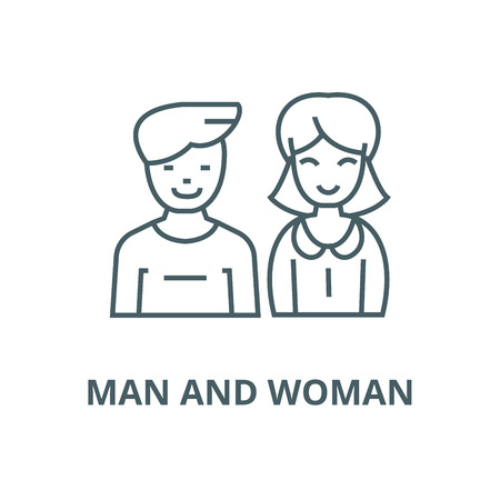 Man and woman, vector line icon, outline concept, linear sign