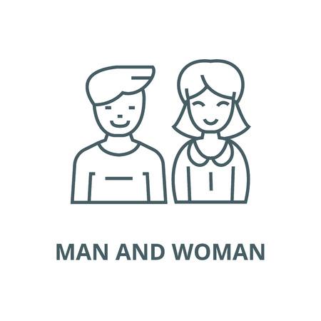 Mann und Frau, Vektorliniensymbol, Umrisskonzept, lineares Zeichen Vektorgrafik
