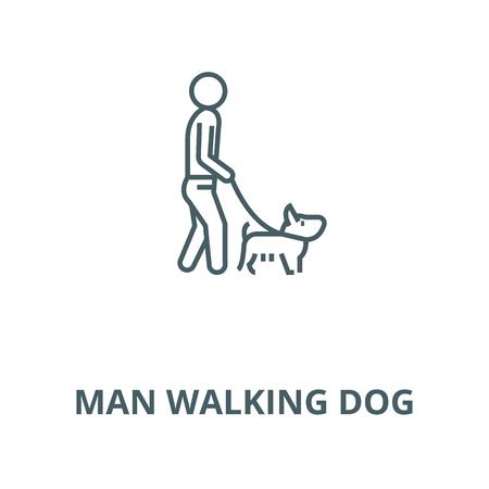 Man walking dog vector line icon, outline concept, linear sign Illustration