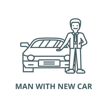 Man with new car,auto  vector line icon, outline concept, linear sign Stock Illustratie
