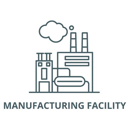 Manufacturing facility vector line icon, outline concept, linear sign