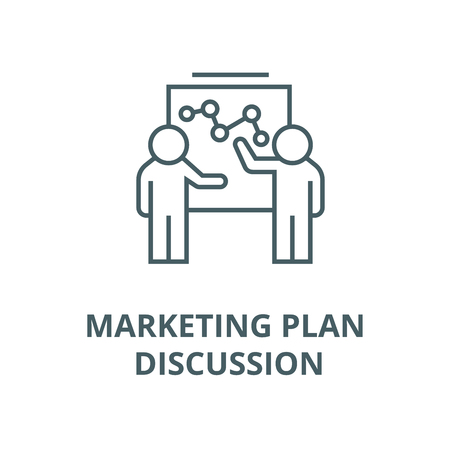 Marketing plan discussion vector line icon, outline concept, linear sign