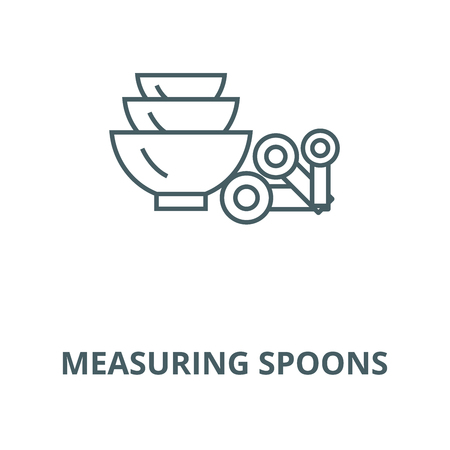Measuring spoons vector line icon, outline concept, linear sign