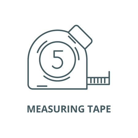 Measuring tape vector line icon, outline concept, linear sign