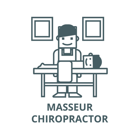 Masseur,chiropractor vector line icon, outline concept, linear sign Standard-Bild - 122416253