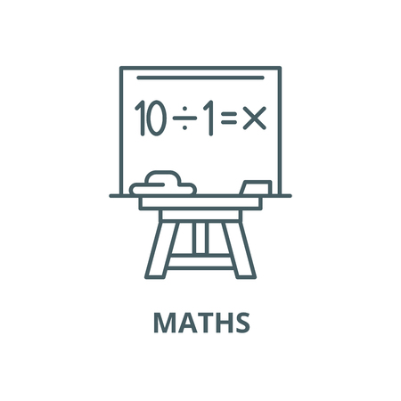 Maths vector line icon, outline concept, linear sign