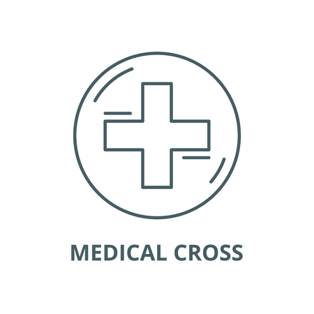 Medical cross vector line icon, outline concept, linear sign Standard-Bild - 122416404