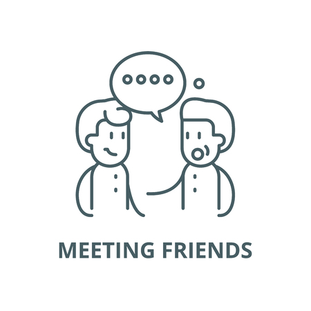 Meeting friends vector line icon, outline concept, linear sign