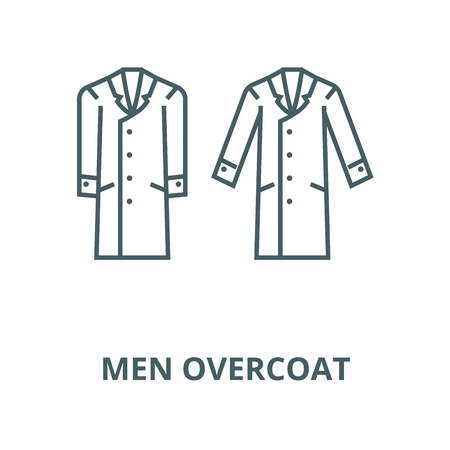 Men overcoat vector line icon, outline concept, linear sign Illustration