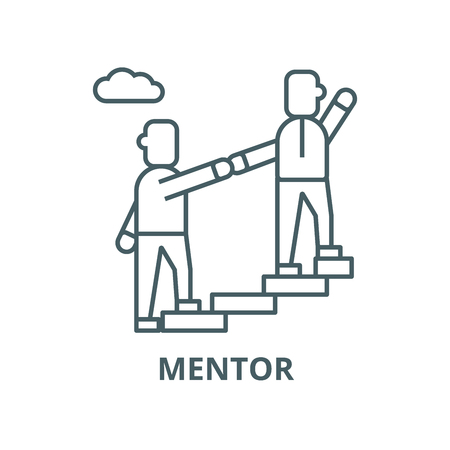Mentor,helping,mentoring,achieving goal vector line icon, outline concept, linear sign Illustration