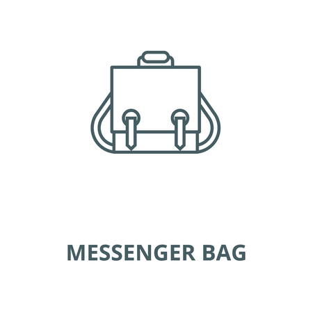 Messenger bag vector line icon, outline concept, linear sign Ilustração
