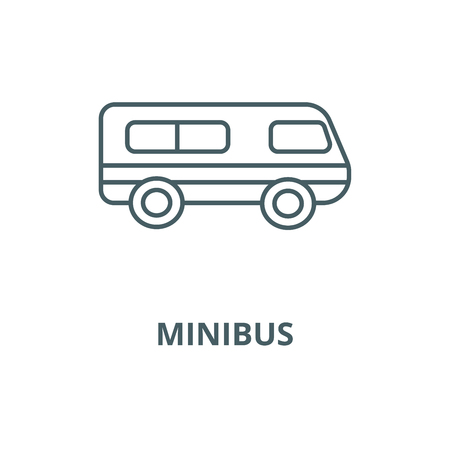Microbus,minibus vector line icon, outline concept, linear sign